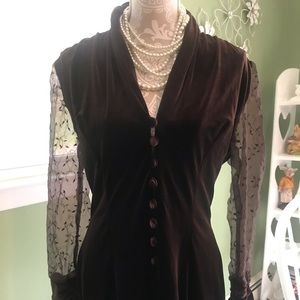 Talbots Dressy Holiday Velour and lace top L